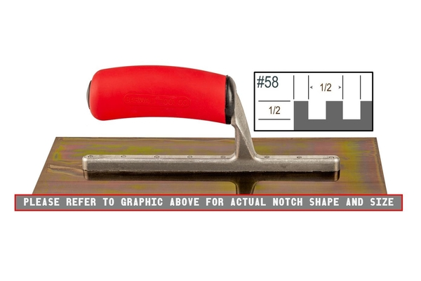 Ultrastainless Riveted 1/2 x 1/2 SQ Trowel | Ultrastainless Riveted Trowels