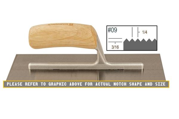 Wood Notched 3/16 x 1/4 V Trowel | Wood Notched