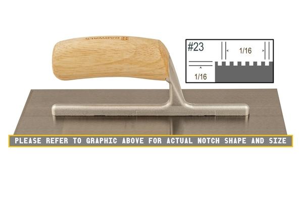 Wood Notched 1/16 x 1/16 SQ Trowel | Wood Notched