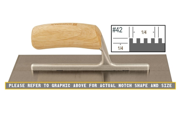 Wood Notched 1/4 x 1/4 SQ Trowel | Wood Notched