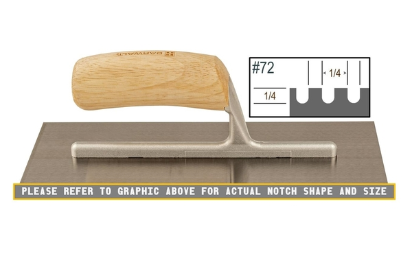 Wood Notched 1/4 x 1/4 U Trowel | Wood Notched