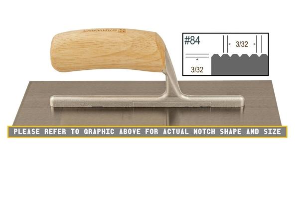 Wood Notched 3/32 x 3/32 V Trowel | Wood Notched