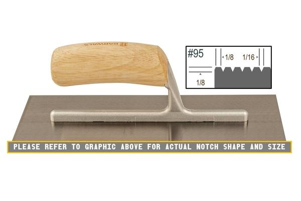 Wood Notched 1/8 x 1/8 V Trowel | Wood Notched