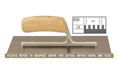 Image Wood Notched 3/8 x 1/4 SQ Trowel