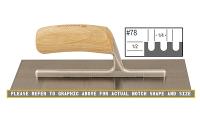 Image Wood Notched 1/2 x 1/4 U Trowel