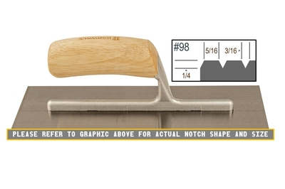 Image Wood Notched 1/4 x 3/16 V Trowel